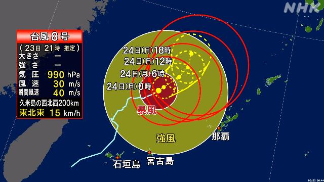 မုန်တိုင်းနံပါတ် (၈)၊ ၂၄ ရက်နေ့မှာ အိုကီနာဝါကျွန်းမကြီးနဲ့ Amami သို့ချည်းကပ်လာပြီးဟုခန့်မှန်းရ !!!!!!